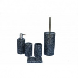 ANDREW FAMILY High Class Real Stone Inside 5 Pieces Bathroom Accessory Set, Black Color