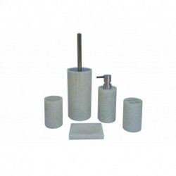 ANDREW FAMILY High Class Real Stone Inside 5 Pieces Bathroom Accessory Set, White Color