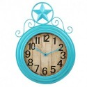 """ANDREW FAMILY 22"""" H Antique Teal Wall Hanging Clock with Star Top Large Number Home Décor"""