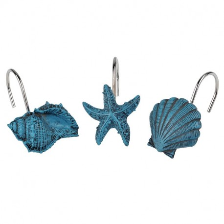 ANDREW FAMILY New 12pcs Decorative Home Bathroom Seashell Shower Curtain Hooks Starfish Conch Teal