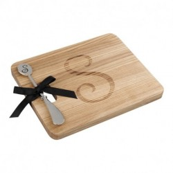 ANDREW FAMILY Monogram Fraxinus Mandshurica Cheese Board With Spreader