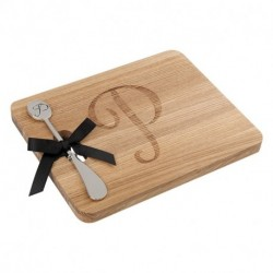 Andrew Family Monogram Fraxinus Mandshurica Solid Wood Cheese Board With Spreader-P