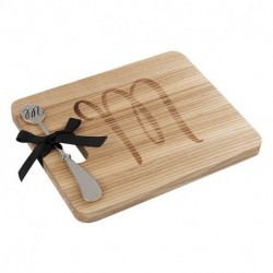 Andrew FamilyMonogram Fraxinus Mandshurica Solid Wood Cheese Board With Spreader-M