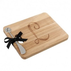 Andrew Family Monogram Fraxinus Mandshurica Solid Wood Cheese Board With Spreader-L