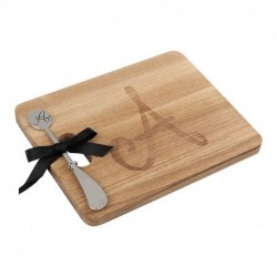 ANDREW FAMILY Monogram Fraxinus Mandshurica Solid Wood Cheese Board With Spreader-A