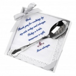 Love You Dad-Engraved Spoon with Embroidered Handkercheif Wedding Gift Set of 2