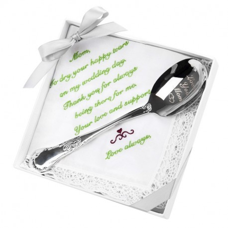 Love You Mom-Engraved Spoon with Embroidered Handkercheif WeddingGift Set of 2