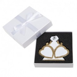 PERSONLIZED ENGAGED RESIN ORNAMNET, HEART TO HEART WITH GEM