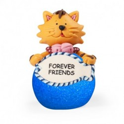 "LED LIGHTED CAT ORNAMENT WITH WORDS""FOREVER FRIENDS"""