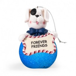"LED LIGHTED DOG ORNAMENT WITH WORDS""FOREVER FRIENDS"""
