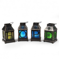 LIGHTED MONOGRAM LANTERN SET OF 4 HOPE