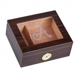 Personalized Glass Top Cigar Humidor Box - Monogrammed Cigar Humidor - Humidor - Holds 25-50 Cigars - Cedar Divider - Initial A