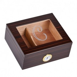 Personalized Glass Top Cigar Humidor Box - Monogrammed Cigar Humidor - Humidor - Holds 25-50 Cigars - Cedar Divider - Initial C