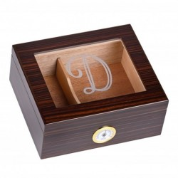 Personalized Glass Top Cigar Humidor Box - Monogrammed Cigar Humidor - Humidor - Holds 25-50 Cigars - Cedar Divider - Initial D